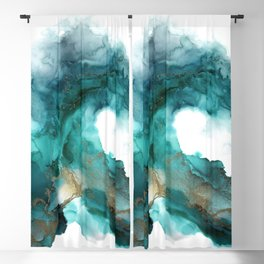 Wild Wave - alcohol ink painting, abstract wave, fluid art, teal, gold colored accents Blackout Curtain