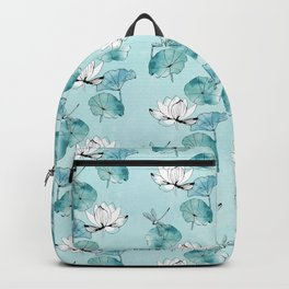 Waterlily dragonfly in green Backpack