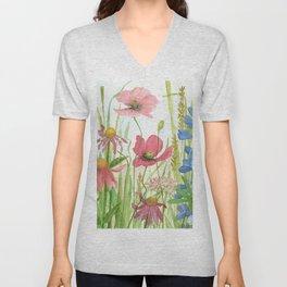 Watercolor Garden Flower Poppies Lupine Coneflower Wildflower Unisex V-Neck