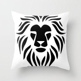 Lion Warrior drawing black T-shirt Throw Pillow