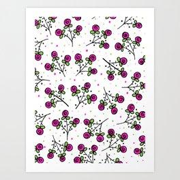 Rose Sprig Pattern Art Print