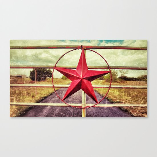 Texas star ranch gate canvas print by justinblackphoto