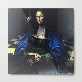 Portrait of a friend with a Mona Lisa face portrait painting by David Manzur Metal Print
