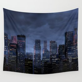 Night city panorama Wall Tapestry