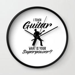 i teach guitar Wall Clock