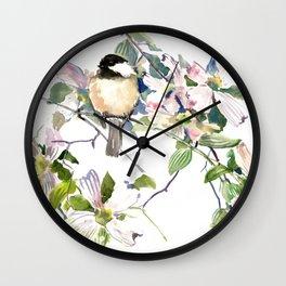 Chickadee and Dogwood Flowers Wall Clock