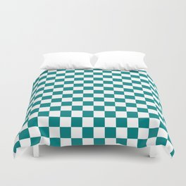 Small Checkered - White and Dark Cyan Duvet Cover