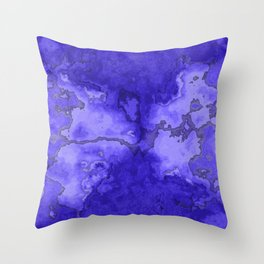 Cobalt Blue Watercolor Paint Throw Pillow