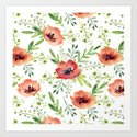 Red bouquet. Watercolor pattern by artcolours