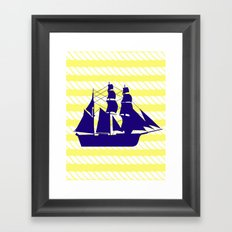 Blue Ship with Yellow Ropes Framed Art Print