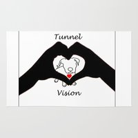 pit bull Area & Throw Rugs featuring Tunnel Vison (love is a pit bull No.3) by Shay by design
