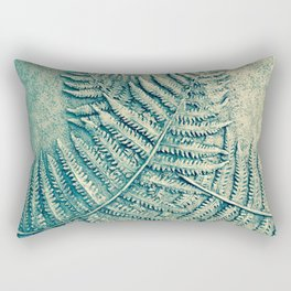 Fernwood Green Ferns Plant Leaves Fresco Stone Nature Photography Rectangular Pillow