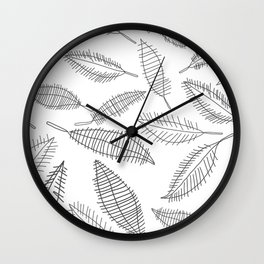 Feather Leaves in Black White Wall Clock