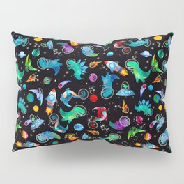 Dinosaur Astronauts In Space Watercolor Pattern Pillow Sham