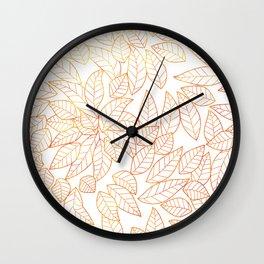 Golden line art autumn leaves Wall Clock
