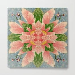 Lotus and Leaves Mandala Metal Print