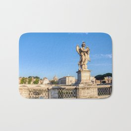 Angel with the Crown of Thorns at the Sant'Angelo bridge - Rome, Italy Bath Mat