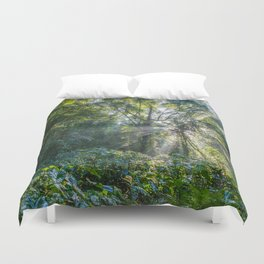 Sun Rays in a Forest Duvet Cover