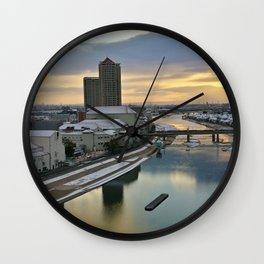 Japan city in sunrise photography Wall Clock