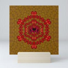 mandala of roses in beautiful bloom Mini Art Print
