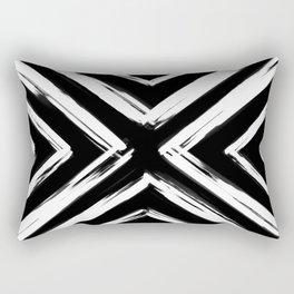 Minimalistic Black and White Paint Brush Triangle Diamond Pattern Rectangular Pillow