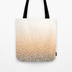 Gradient orange and white swirls doodles Tote Bag