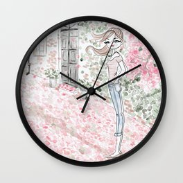 Sweet woman in a pink petal rain. Wall Clock