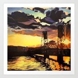 Purple & Orange, Steel Bridge - Portland, Oregon Art Print