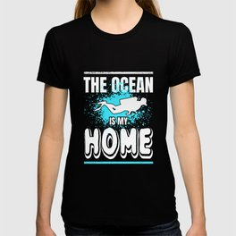 Scuba Diving The Ocean is My Home Distressed Design T-shirt