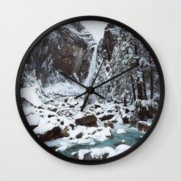 Snow at Yosemite Falls Wall Clock