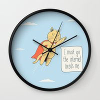 internet Wall Clocks featuring Internet Cat by Phil Jones