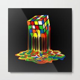 Rainbow Abstraction melted rubix cube iPhone 4 5 6 7 8, pillow case, mugs and tshirt Metal Print