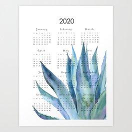 Blue Plant Calendar Art Print