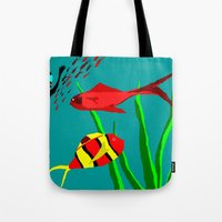 scuba Tote Bags featuring Scuba Diver by Happy Fish Gallery