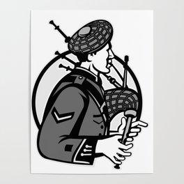 Bagpiper Bagpipes Scotsman Grayscale Retro Poster