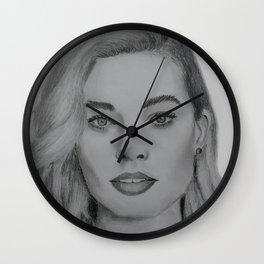 Margot Robbie portrait Wall Clock