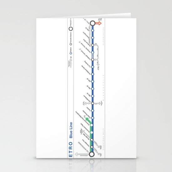 Twin Cities METRO Blue Line Map Stationery Cards