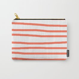 Simply Drawn Stripes in Deep Coral Carry-All Pouch