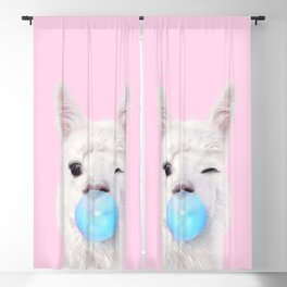 BUBBLE GUM LLAMA Blackout Curtain