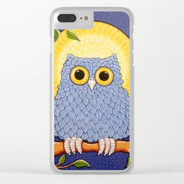 Little Blue Owl and Mandala Moon Clear iPhone Case