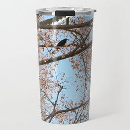 Rowan tree branches with berries and bird Travel Mug