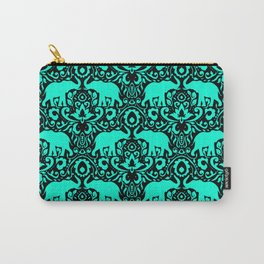 Elephant Damask Mint and Black Carry-All Pouch