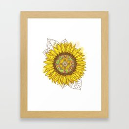 Sunflower Compass Framed Art Print