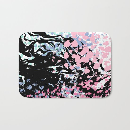 Abstract painting modern minimal ocean space galaxy space art minimalist pink and mint Bath Mat