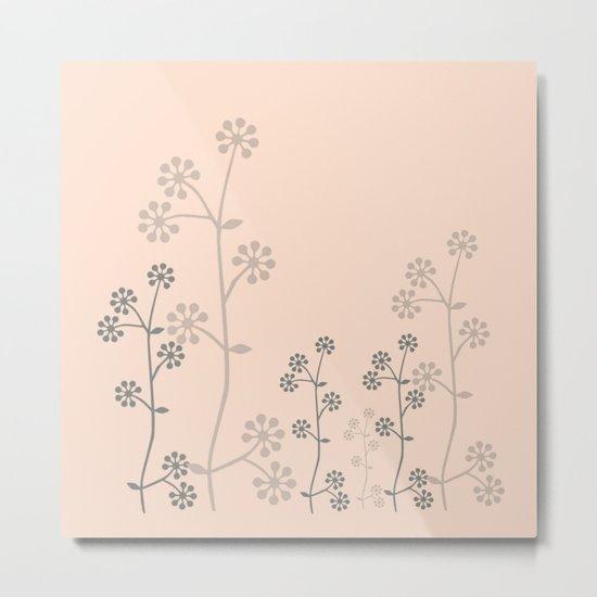 grey branch on pink Metal Print