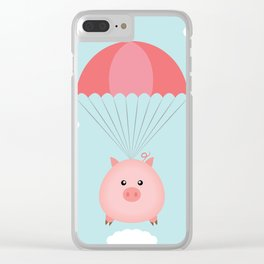 Baby Pig in a Parachute Clear iPhone Case