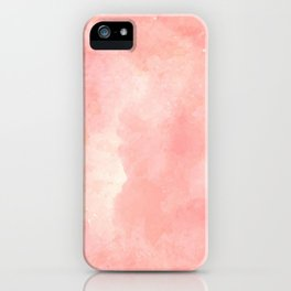 Coral pink watercolor abstract brushstrokes pattern iPhone Case