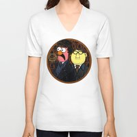 221b V-neck T-shirts featuring 221b Beaker Street by Onebluebird