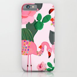 Flamingos. Exotic Birds with cactus and roses artistic design pattern iPhone Case