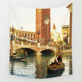 Gondola ride at Venetian, Las Vegas - Digital Painting Wall Tapestry